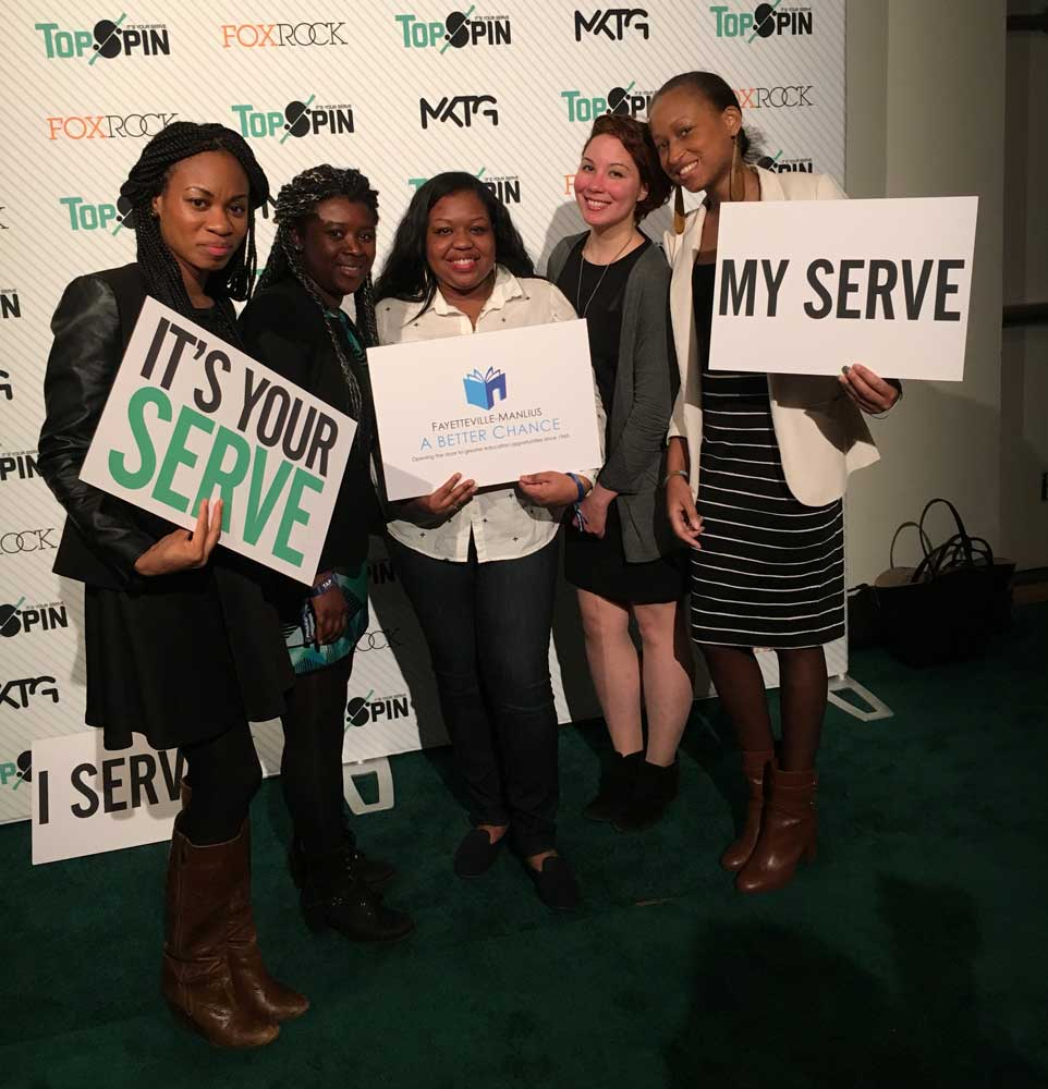 FMABC alums enjoy night of fun at NYC fundraiser TopSpin 2015. From Left to right, Victoria Allsion, MIldres Flores, Amanda Chichester, Dorisol Inoa, Jessica Reid